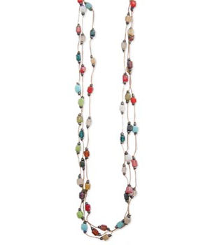 3 Strand Thread and Glass Bead Necklace