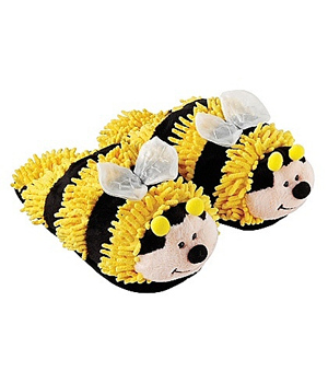 Fuzzy Friend Slippers-Bumblebee