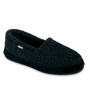 Acorn Fleece Slippers-Black Berber