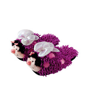 Fuzzy Friend Slippers-Purple Butterfly