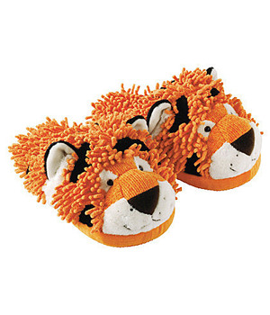 Fuzzy Friend Slippers-Tiger