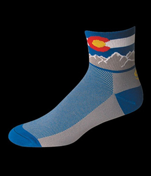 Cycling Socks Colorado Flag Blue Mini Crew
