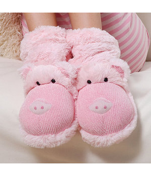 Fuzzy Friends Slippers-Pig