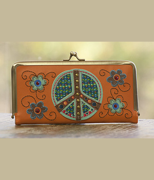 Natural Life Orange Peace Sign Wallet