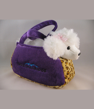 Plush Purse Purple with Leopard White Poodle