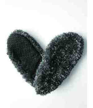 Fuzzy Footie Large  Slippers Black