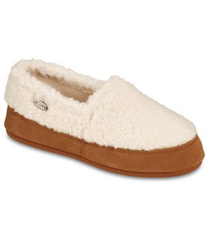 Acorn Fleece Moccassin White Fluffy Texture