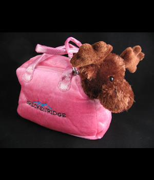 Plush Purse Pink with Stuffed Moose and Breckenridge