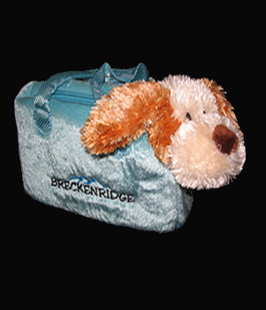 Plush Purse Blue with Brown Dog