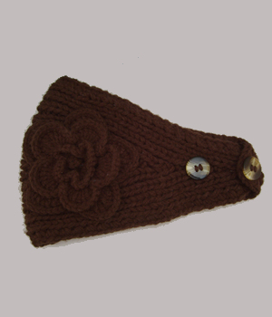 Knit Headband with Flower / Brown
