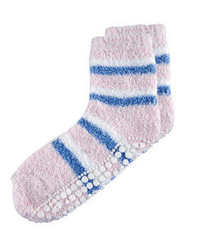 Red Carpet Spa Sock Pink With White/Blue Stripes