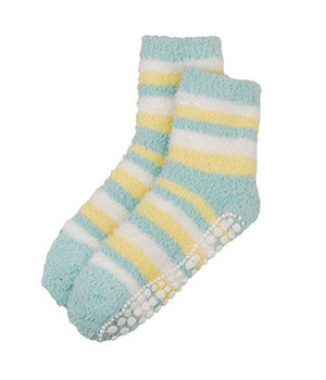 Red Carpet Spa Sock Yellow with Green/Cream Stripes